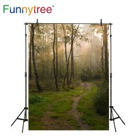 Funnytree photography backdrops forest path tree early morning