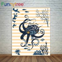 Funnytree photography backdrops orange stripes octopus fish custom