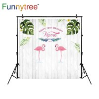 Funnytree photography backdrops flamingo birthday customize white