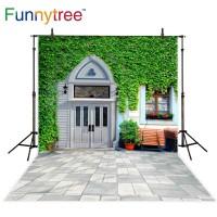 Funnytree photography backdrops decoration garden brick grass wall