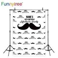 Funnytree photography backdrops black Moustache red Lips Custom name
