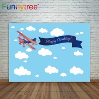 Funnytree photography backdrops blue sky cloud cartoon airplane boys