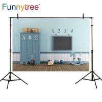 Funnytree photography backdrops playroom balls wooden house floor