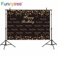 Funnytree photography backdrops black golden dots Happy birthday
