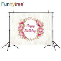 Funnytree photography backdrops birthday white Texture Floral pink