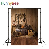 Funnytree photography backdrops guitar cowboy western america wooden