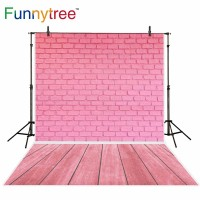 Funnytree photography backdrops pink brick wall wooden floor newborn