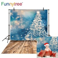 Funnytree photography backdrops christmas blue bokeh tree lights