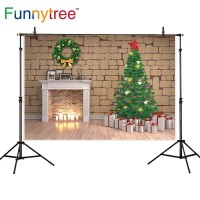 Funnytree photography backdrops christmas wreath Fireplace gifts