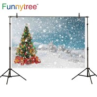 Funnytree photography backdrops christmas tree gifts winter snow