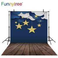 Funnytree photography backdrops dark blue night star clouds wood