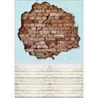 Funnytree photography backdrops broken brick wall wood floor