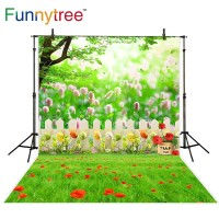 Funnytree photography backdrops green lawn spring tree fence flowers
