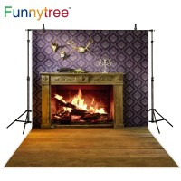 Funnytree photography backdrops fireplace room christmas chimney