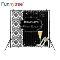 Funnytree photography backdrops diamond fabulous glitter black