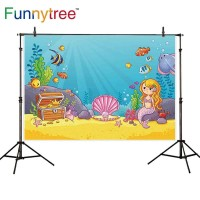 Funnytree photography backdrops cartoon seabed mermaid shell seaweed