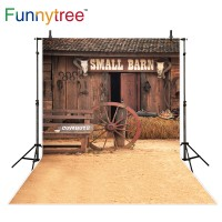 Funnytree wood barn cowboy photography backdrop haystacks