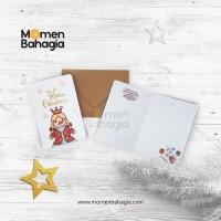 Kartu Ucapan Natal Snowgirl + Amplop Vintage (Kartu Natal Murah Bagus)
