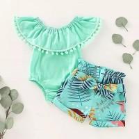 Pakaian bayi perempuan/ Jumper bayi hijau tosca