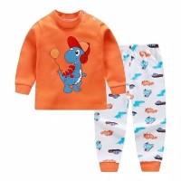 Piyama setelan baju tidur bayi import dinosaurus orange