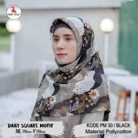 Hijab Daily Square Motif Black Pollycotton PM 30