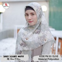 Hijab Daily Square Motif Olive Pollycotton PM 30