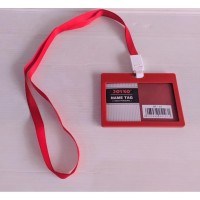Joyko ID Card Holder 54 x 90 mm Landscape + Lanyard NT-57 RED