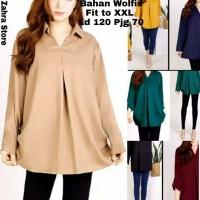 Baju Kemeja Wanita Jumbo Polos Klep V Pakaian Atasan Wanita Big Size