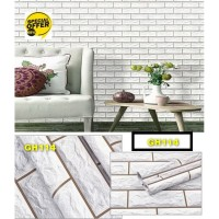 Wallpaper Bata block white 3D 45cm x 10m - Wallpaper Dinding GH114