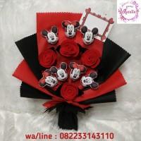 buket bunga boneka mickey mini mouse bouquet mawar flanel wisuda ultah