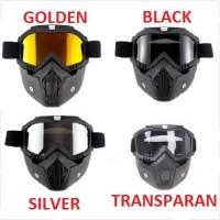 Google Mask Helm Masker Kaca Mata Motor Goggles Trail Cross - Golden
