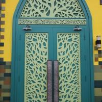 HUAYI blue door Backdrop-church door Photo Background- newborn baby