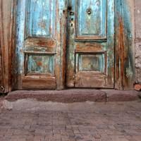 HUAYI blue old door photo background art fabric photography backdrop