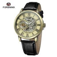 Jam Tangan Forsining Mekanik Skeleton Transparan Bronze Perunggu