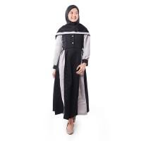 BAJUYULI - Baju Muslim Gamis Anak Kombinasi Raglan Hitam Abu - EBBK01 - XS