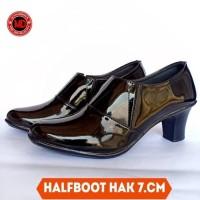 Sepatu halfboot kilap 7cm angkleboot polwan elastis hitam 36