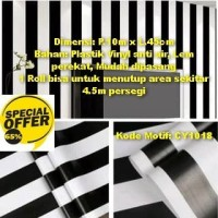 Wallpaper Stripe black & white 45cm x 10m - Wallpaper Dinding CY1018