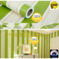 Wallpaper Sticker Stripe Green 3D 45cm x 10m - Wallpaper Dinding GH026