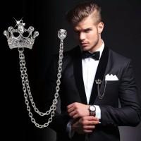 BR005 Bros Jas Crown Crystal Unisex Brooch Lapel Pin Suit Brooch