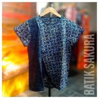 Blouse Batik Biru Pendek Batik Cap Batik Sakura solo elegant