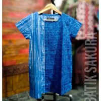 Blose Batik Biru Pendek Batik Cap | Batik Sakura Solo - Elegant