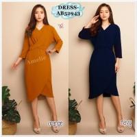 AB52943 Midi Mini Dress Pesta Lengan Panjang Wanita Korea Import