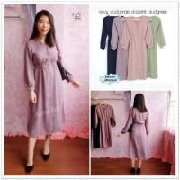 AB52942 Long Dress Kemeja Midi Lengan Panjang Wanita Import Tunik