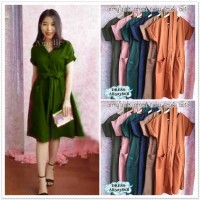 Midi Mini Dress Korea Bangkok Import AB52386B Biru Merah Pink Army
