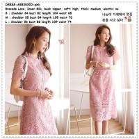AB838300 Midi Mini Dress Brukat Gaun Pesta Wanita Korea Import Pink
