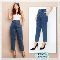 AB51627 Celana Panjang Denim Boyfriend Jeans Wanita Korea Import
