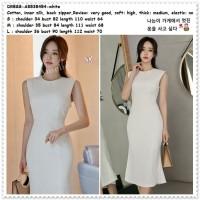 AB538454 Midi Mini Dress Gaun Pesta Wanita Korea Import Putih White