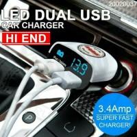 HI END CAR CHARGER LED Indikator Dual USB Port - Putih