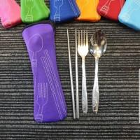 sendok sumpit garpu set travel portable pocket praktis