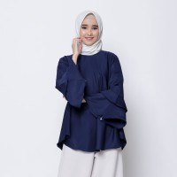 Hijab Ellysha BALLERINA RUFFLE BLOUSE NAVY